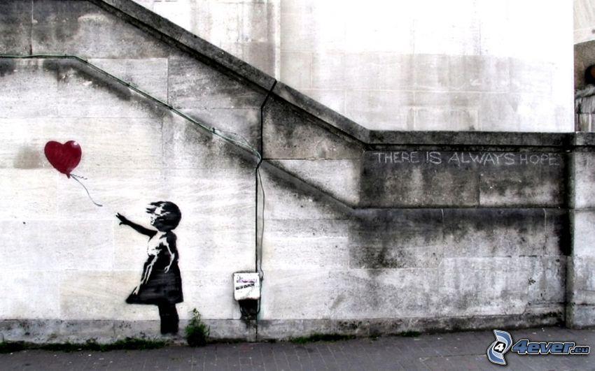 chica, globo, esperanza, corazón, escalera