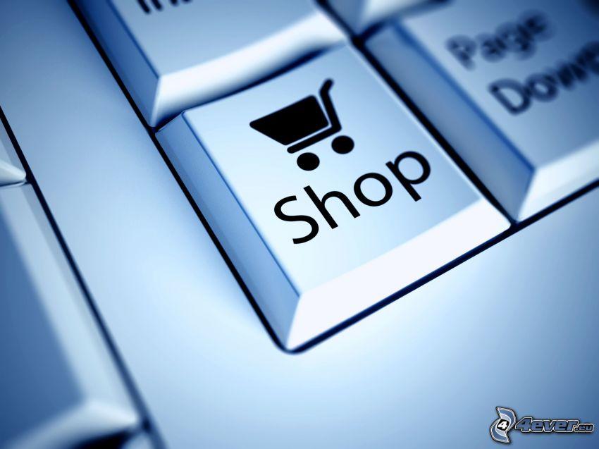 claves, tienda, cesta de la compra