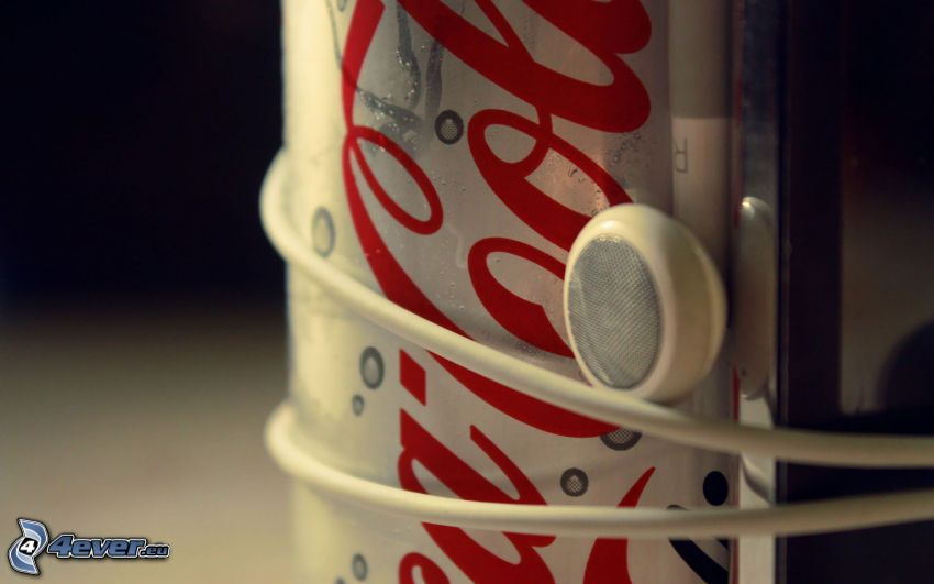 Coca Cola, auriculares, lata