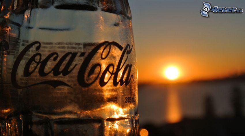Coca Cola, botella, puesta del sol