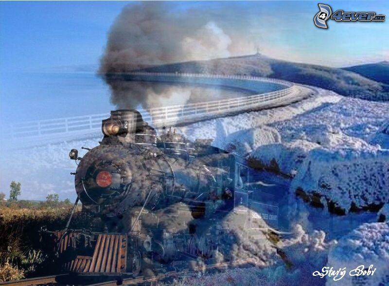 collage, tren de vapor, presa