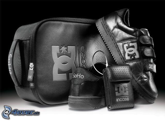 DC Shoes, bolso, zapatillas de deporte negras, funda