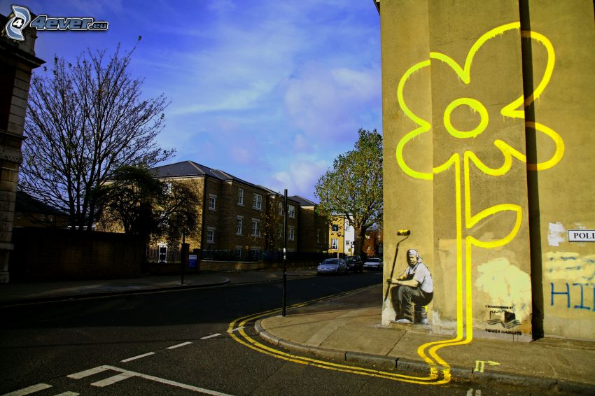 dibujo, flor amarilla, pared