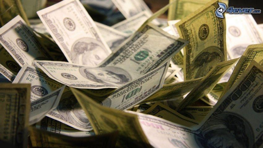 dinero, dólares, billetes