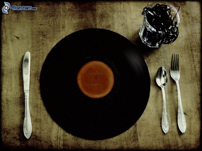 disco de vinilo, almuerzo