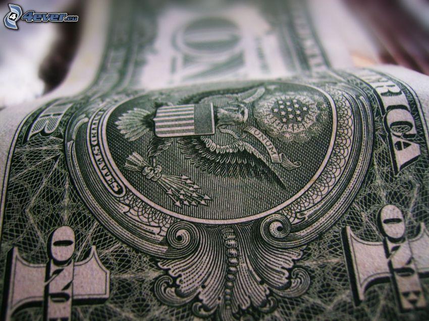 dólar, billete, dinero