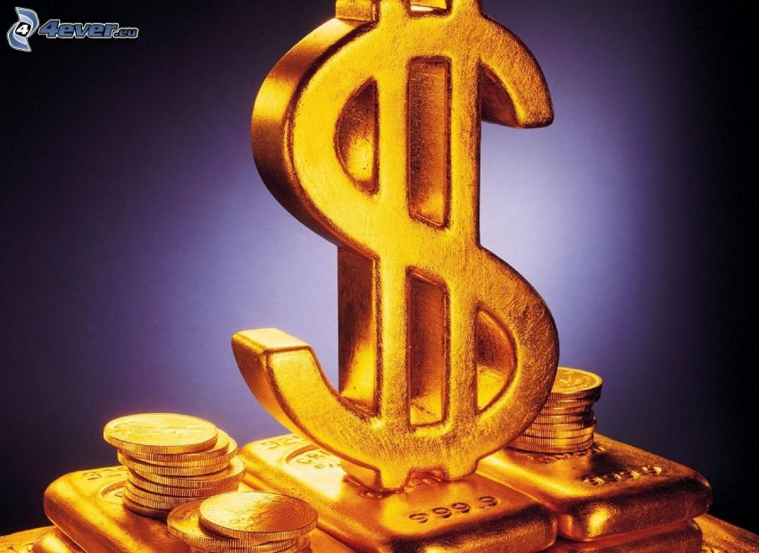 dólar, oro, barras de oro