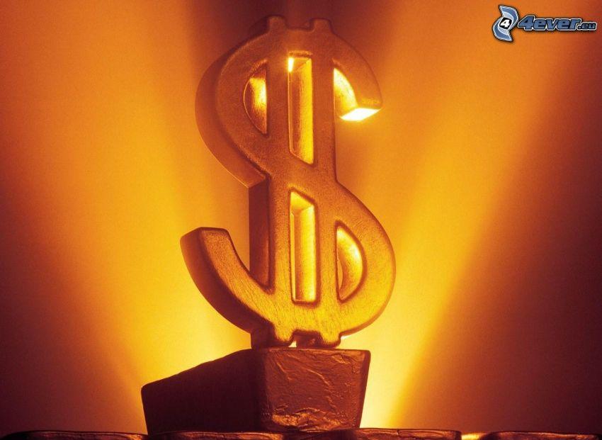 dólar, oro, signo, barras de oro, luz