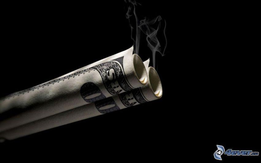 dólares, humo