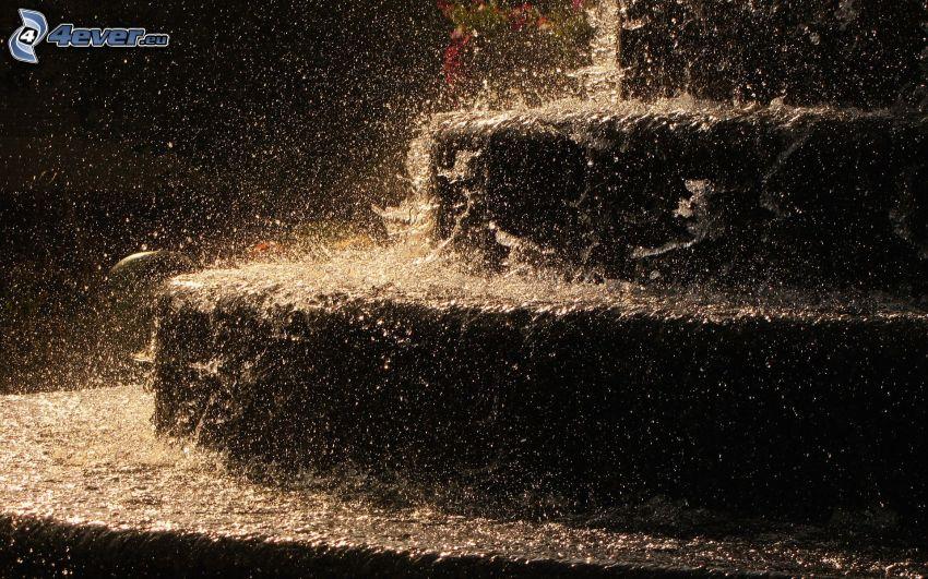 escalera, agua, lluvia