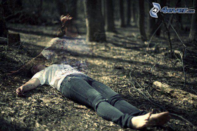 espíritu, cadáver, bosque