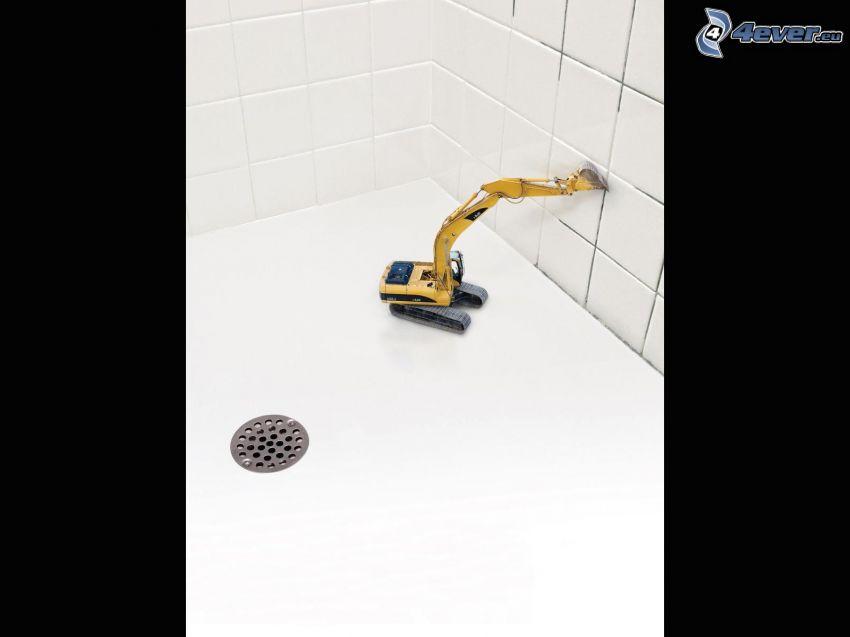 excavadora, baño