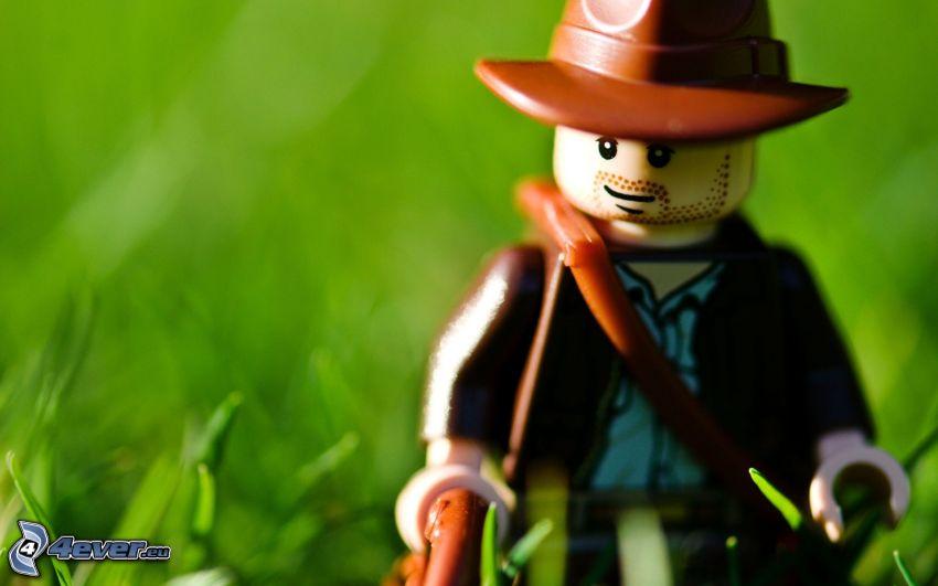 figurita, Lego, cowboy, hierba