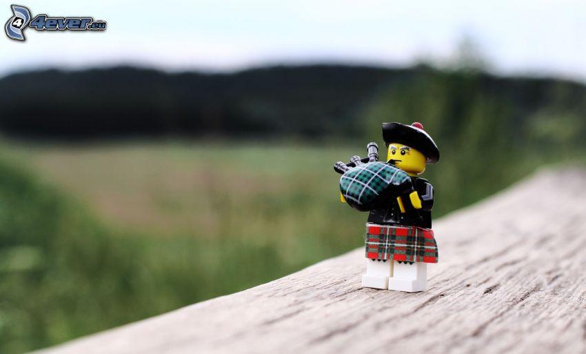 figurita, Lego, falda escocesa, gaita