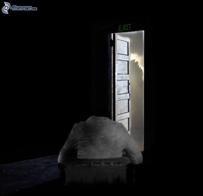 fin, la espera, puerta