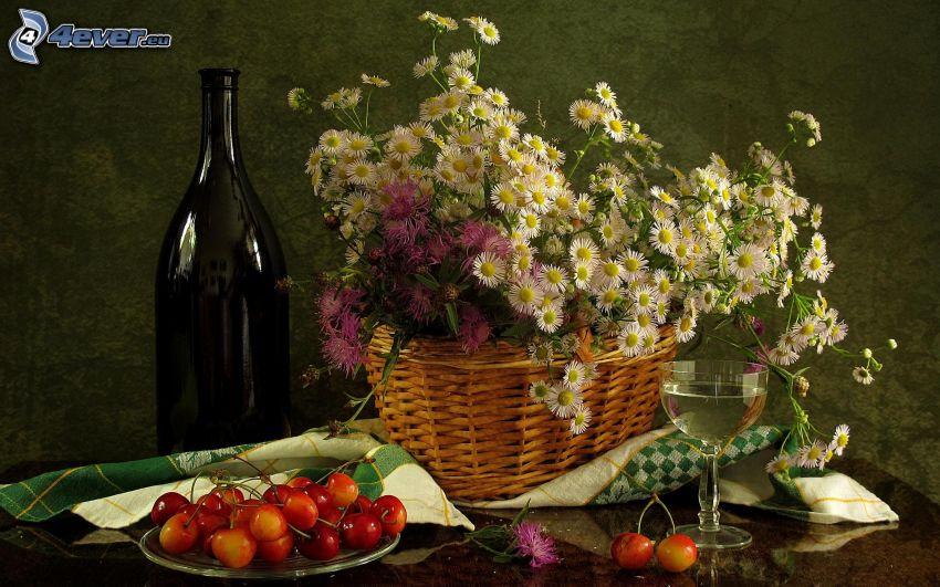 flores de campo, cerezas, vino