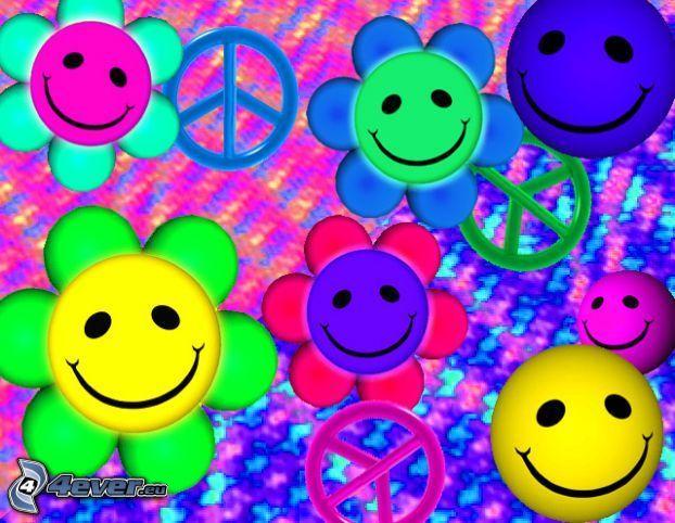flores de colores, peace
