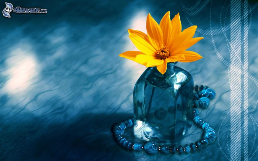 flores en el florero, collar