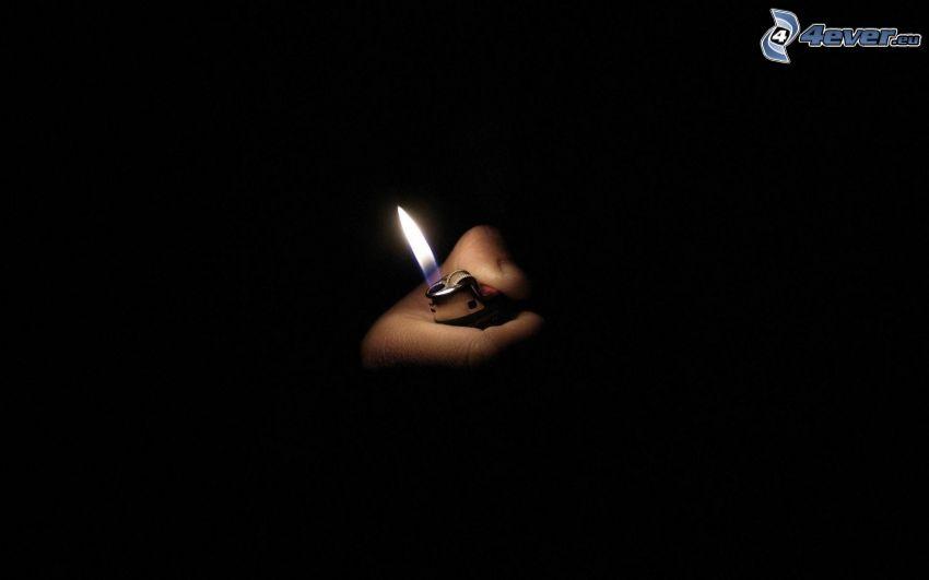 fuego, llama, mano