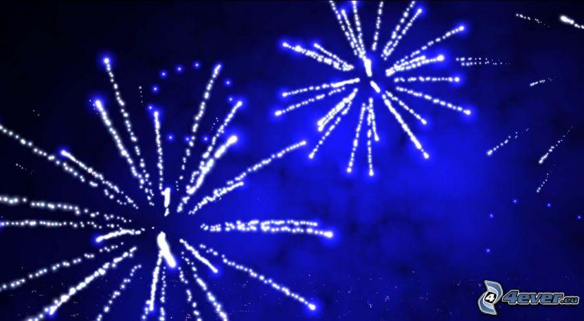 fuegos artificiales, fondo azul