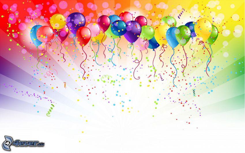 Globos, fondo de colores, bolas de colores
