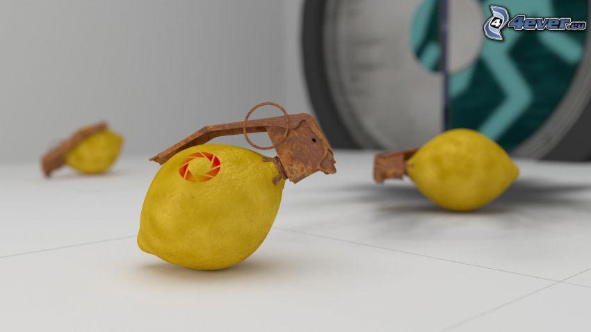 granada de mano, limón