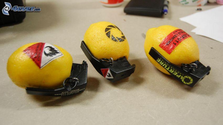 granada de mano, limones