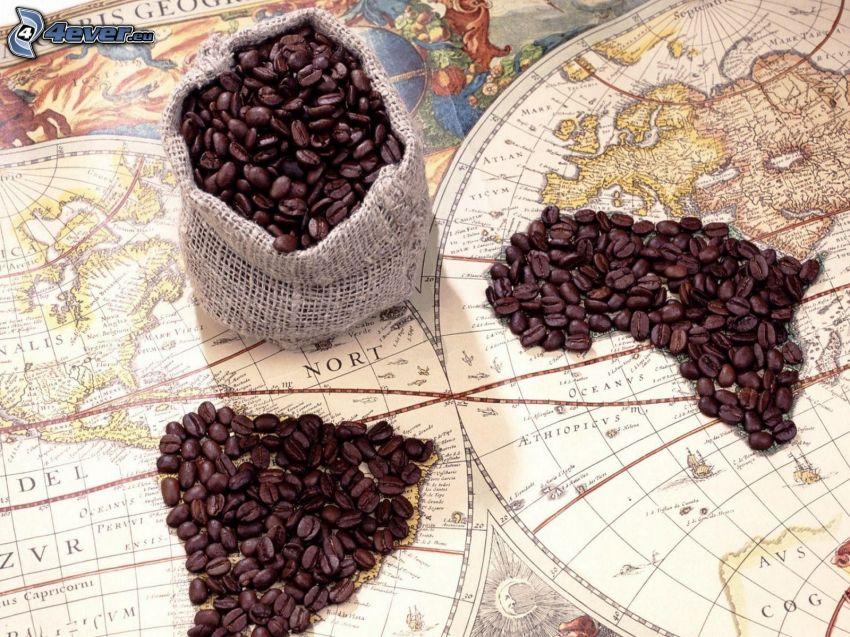 granos de café, mapa del mundo, África