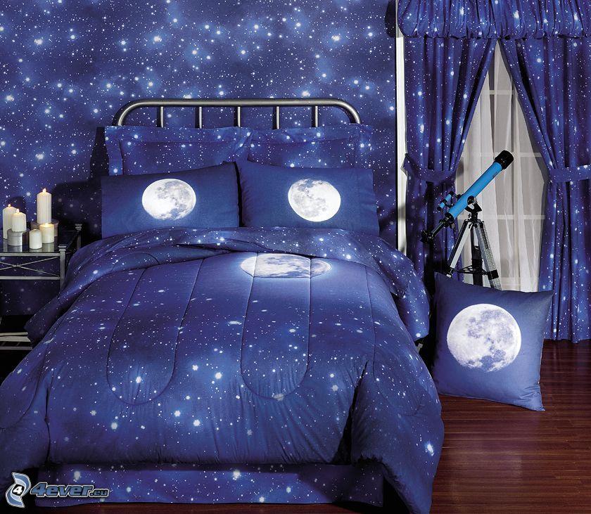habitacion de niño, universo, prismáticos, cielo, cama