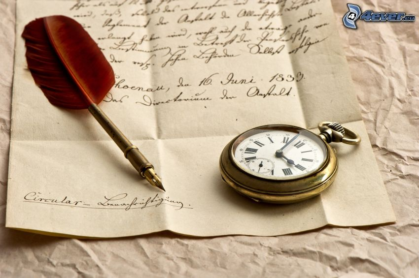 hoja, reloj histórico, pluma