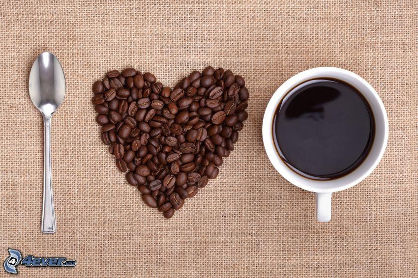 I love coffee, granos de café, corazón, taza de café, cuchara
