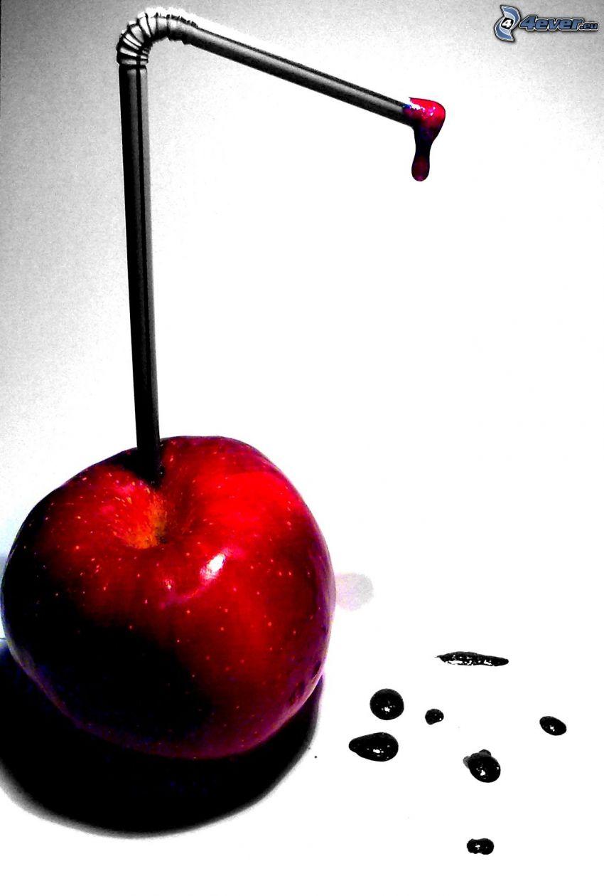 jugo fresco, manzana, paja
