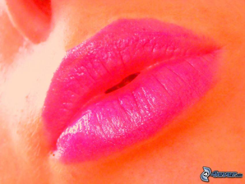 labios, boca, pintalabios, brillo