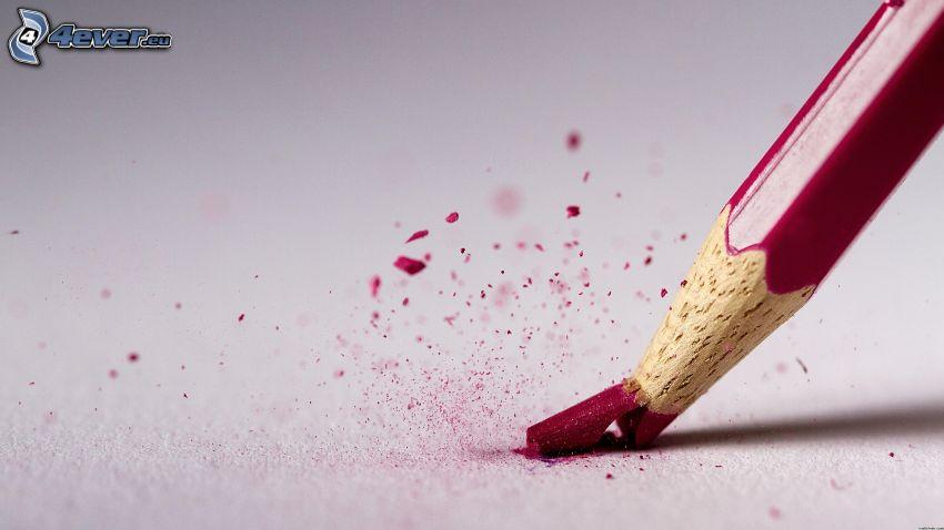 lápiz, rojo, roto