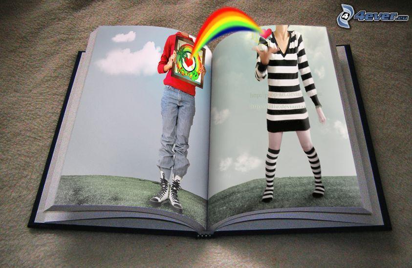 libro, arco iris, amor