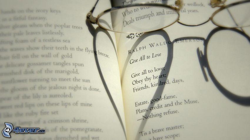 libro, gafas, corazón