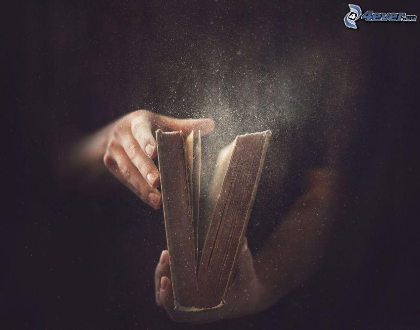 libro, manos, polvo