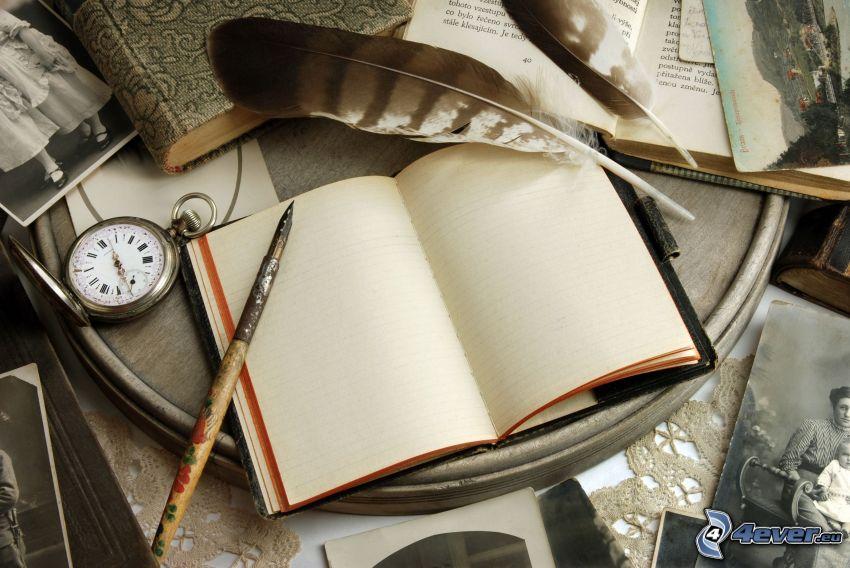 libro, pluma, reloj
