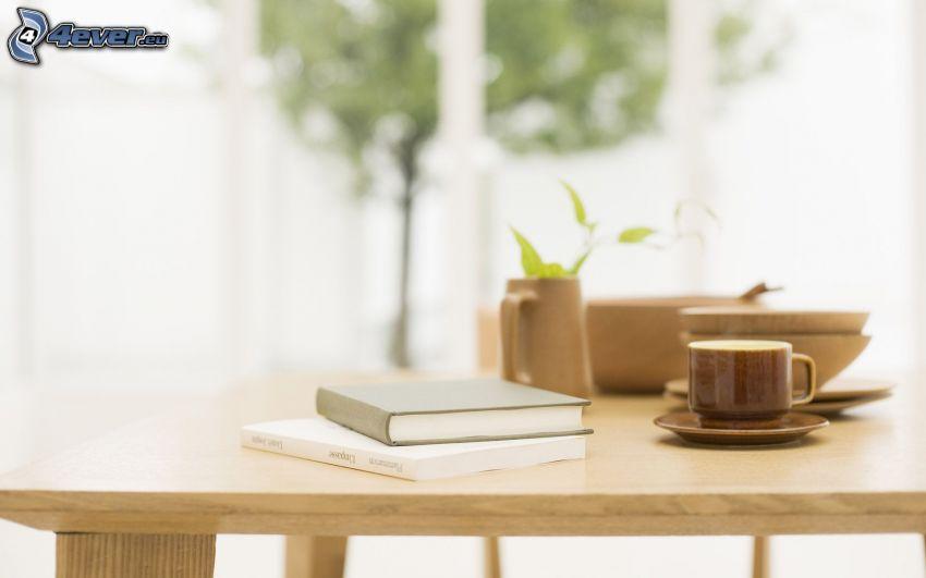 libro, taza de café, mesa