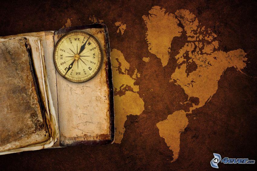 libro antiguo, brújula, mapa del mundo