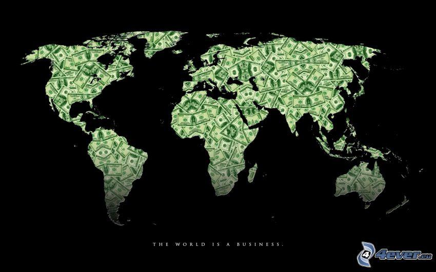 mapa del mundo, dólares, dinero