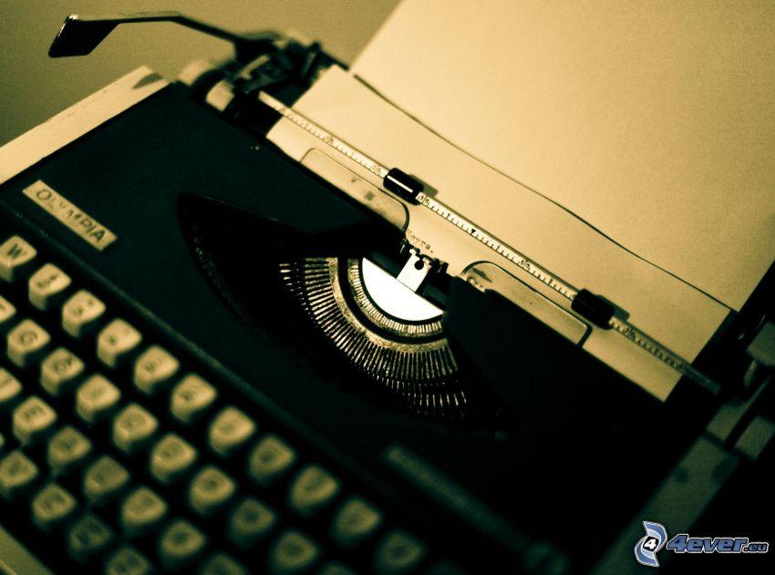 máquina de escribir, papel