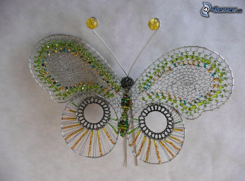 mariposa colorida, alambre, rosario