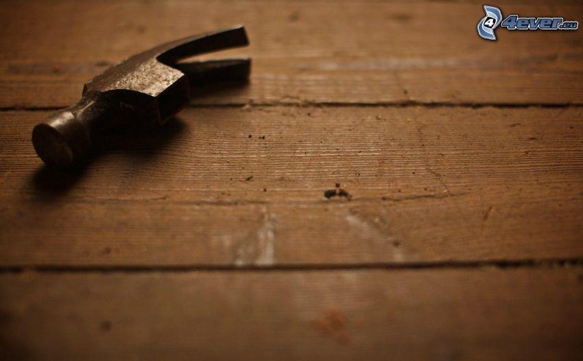 martillo, metal, cobertura de madera
