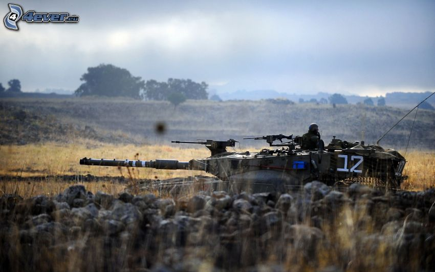 Merkava, tanque, campo