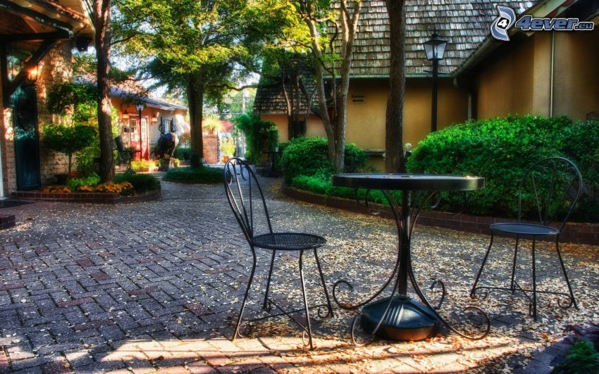 mesa, sillas, pavimento