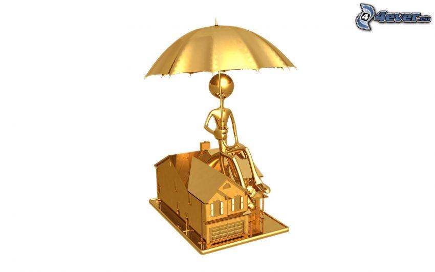 muñeco, paraguas, casa