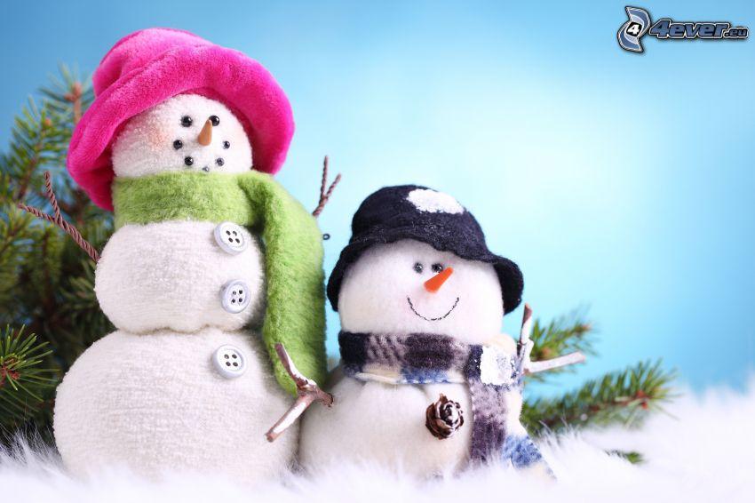 Muñecos de nieve, tela, sombrero, bufanda, Botones