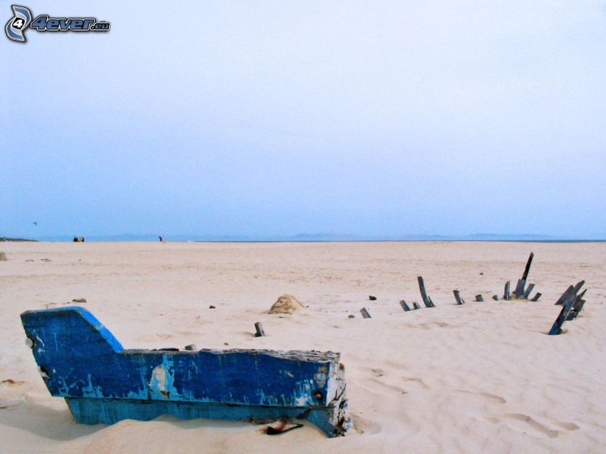naufragio, playa, arena