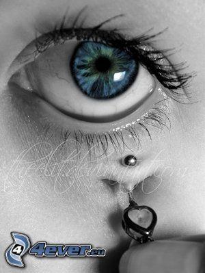 ojo azul, piercing, iris